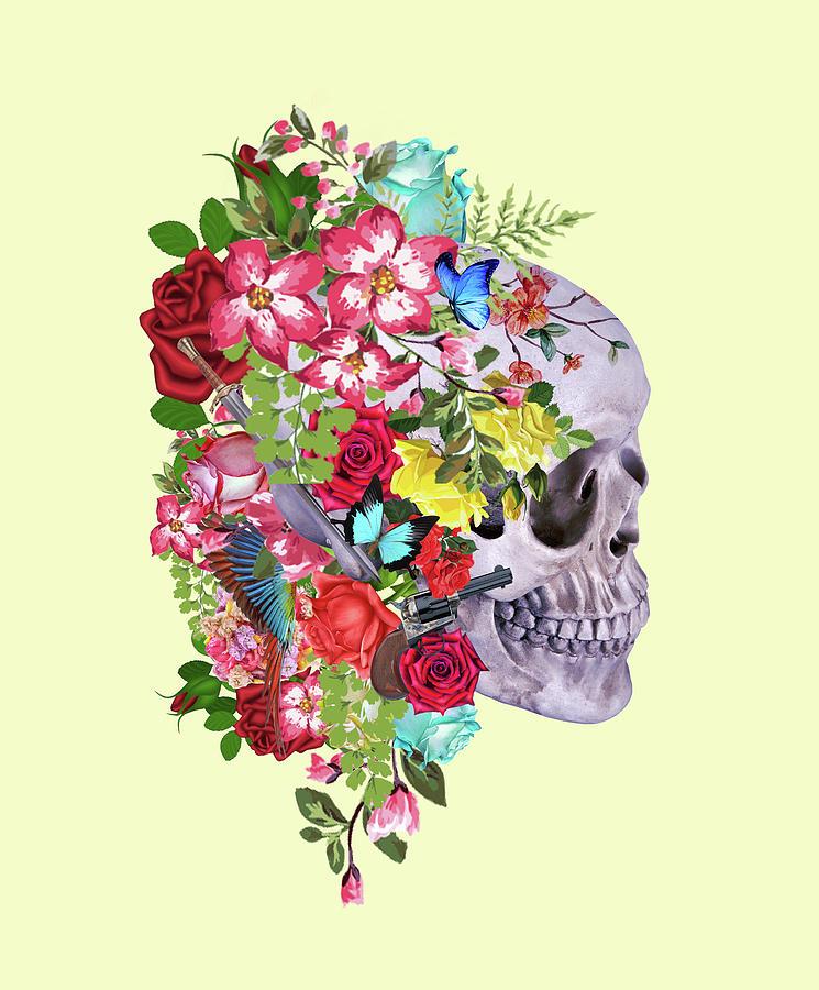 Mask Digital Art - Skull Floral 2 by Mark Ashkenazi