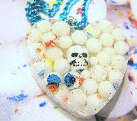 Skull Jewelry - Skull In Real Mini Jaw Breakers - Heart Necklace by Razz Ace