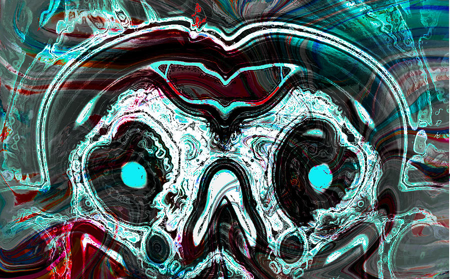 Skull Of A Mad Alien With Snake by Abstract Angel Artist Stephen K