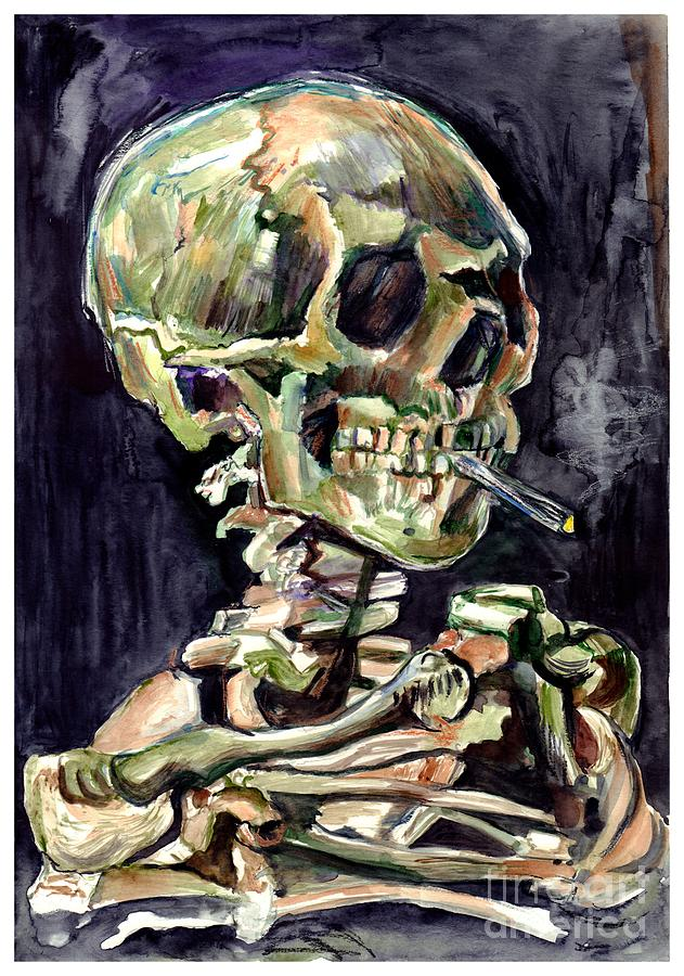 Watercolour Painting - Skull of a skeleton with burning cigarette by Suzann Sines