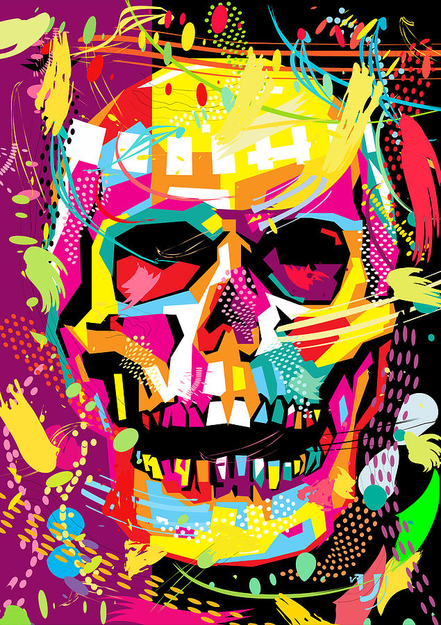 Skull Pop Art Dope Digital Art by Ahmad Nusyirwan