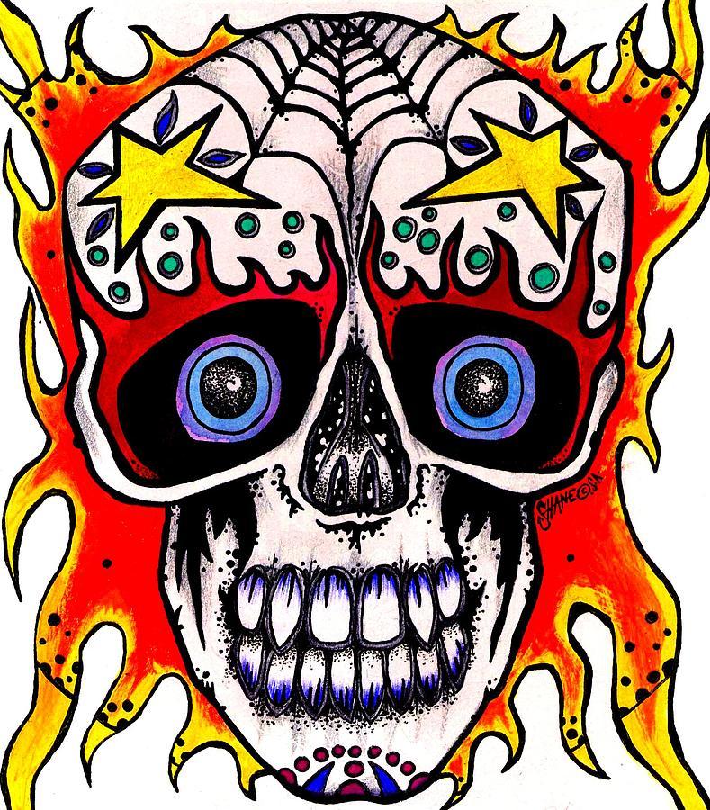 Skull Painting - Skull by Sam Hane