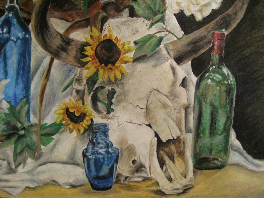 High School Artwork Pastel - Skull Still Life by Emily Jones
