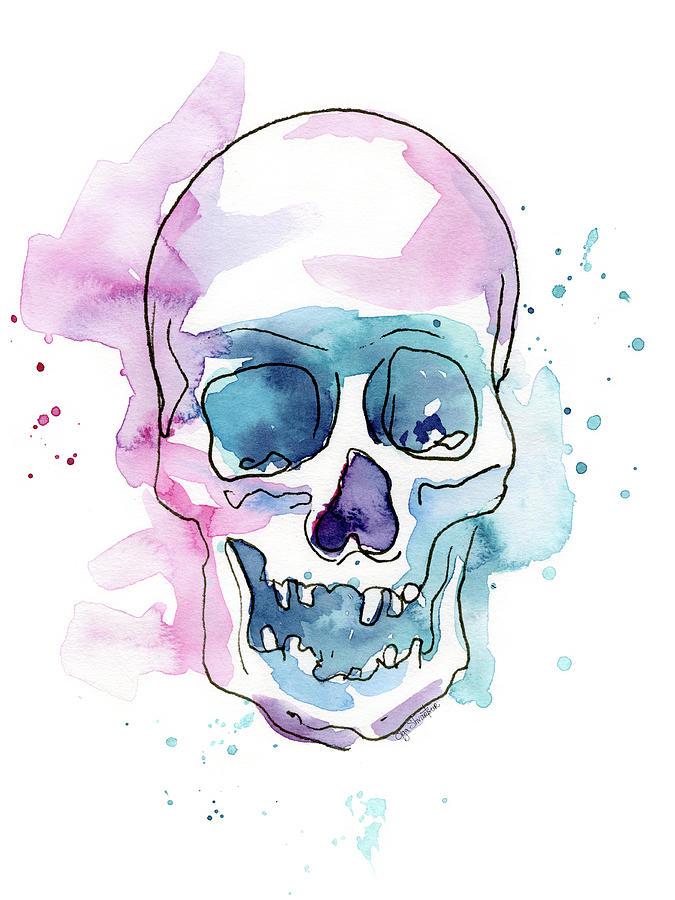 Skull Painting - Skull Watercolor Abstract by Olga Shvartsur