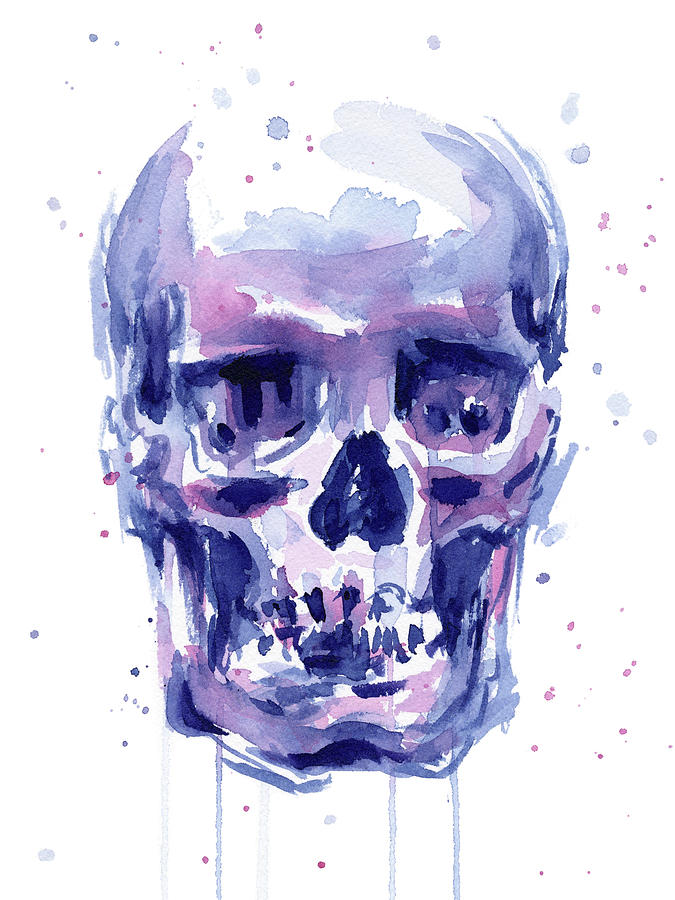 Skull Watercolor Painting By Olga Shvartsur