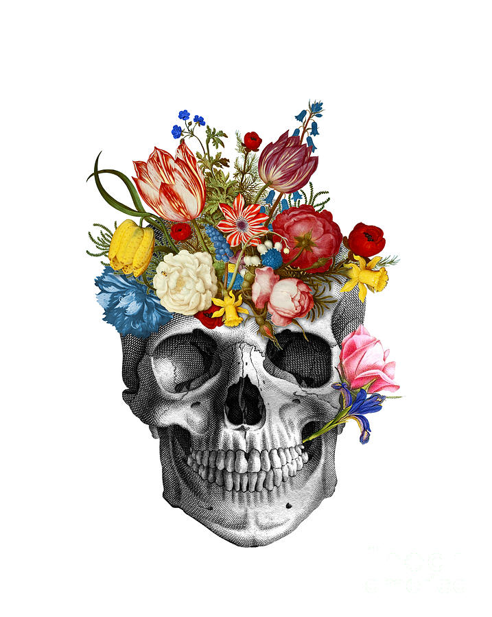 Skull with flowers Digital Art by Madame Memento