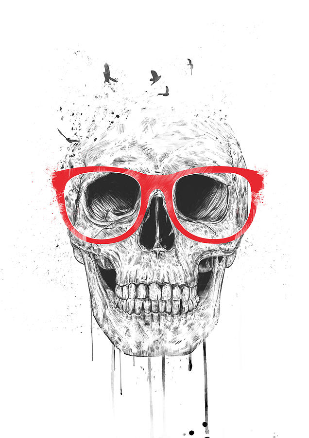 Skull Mixed Media - Skull with red glasses by Balazs Solti