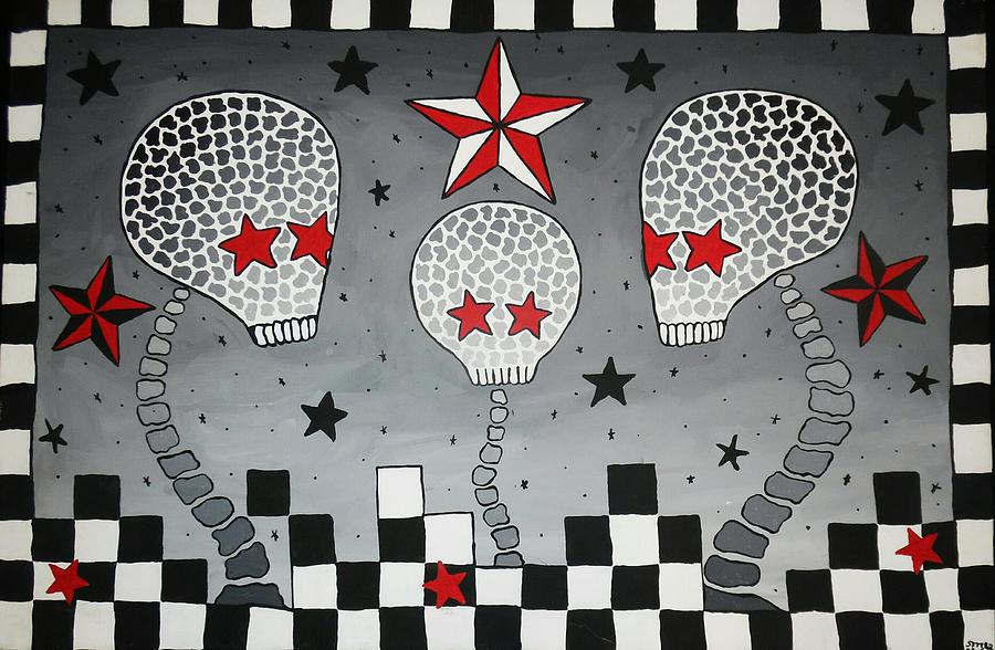 Black Painting - Skully Family by Soozee McVoy