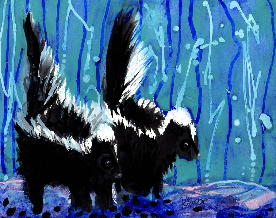 Skunks Painting - Skunks by Kimbo Jackson
