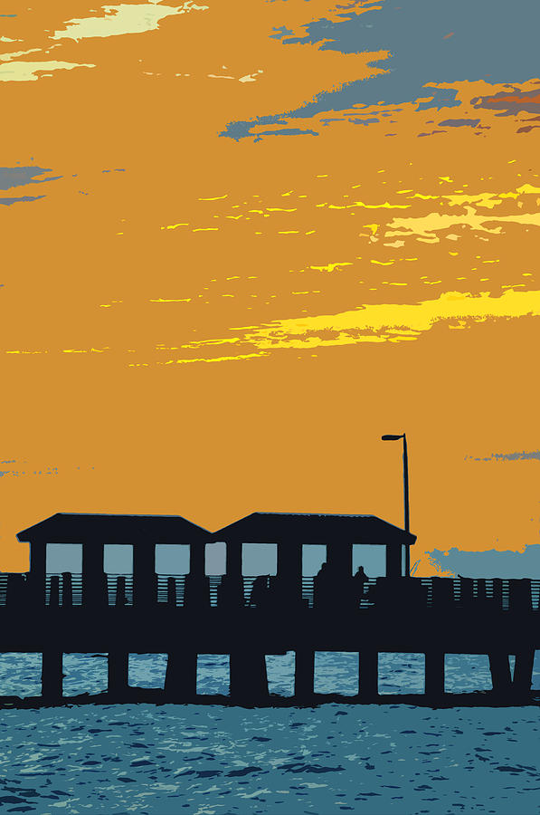 Fishing Pier Painting - Sky And Pier by David Lee Thompson