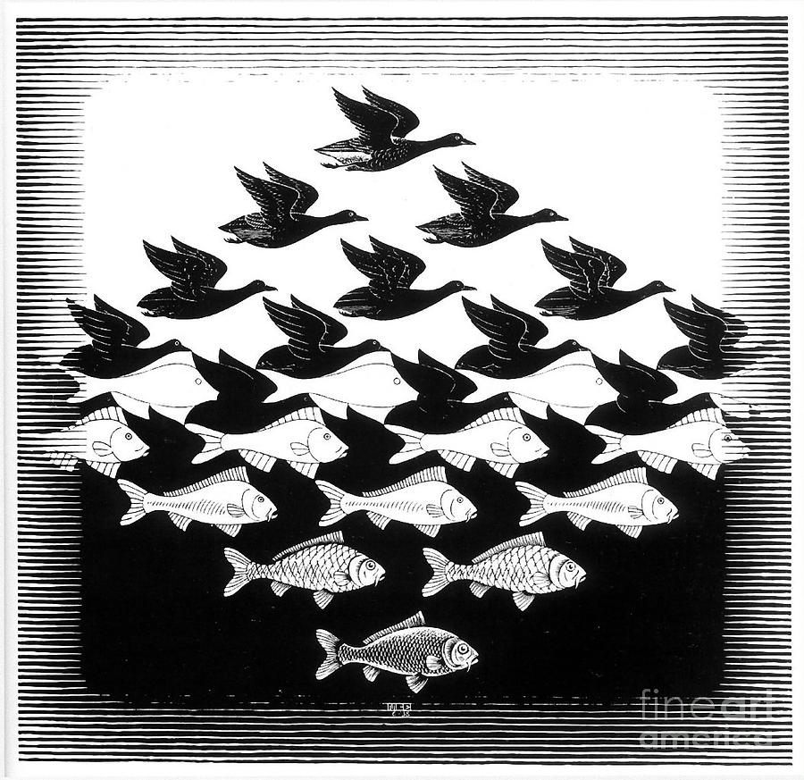 Sky And Water Drawing by MC Escher