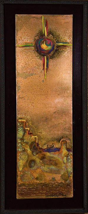 Native American Mixed Media - Sky City And Zia by Laurie Tietjen
