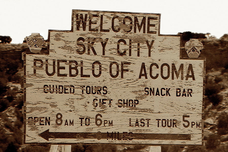 American Indian Photograph - Sky City Sign by David Lee Thompson