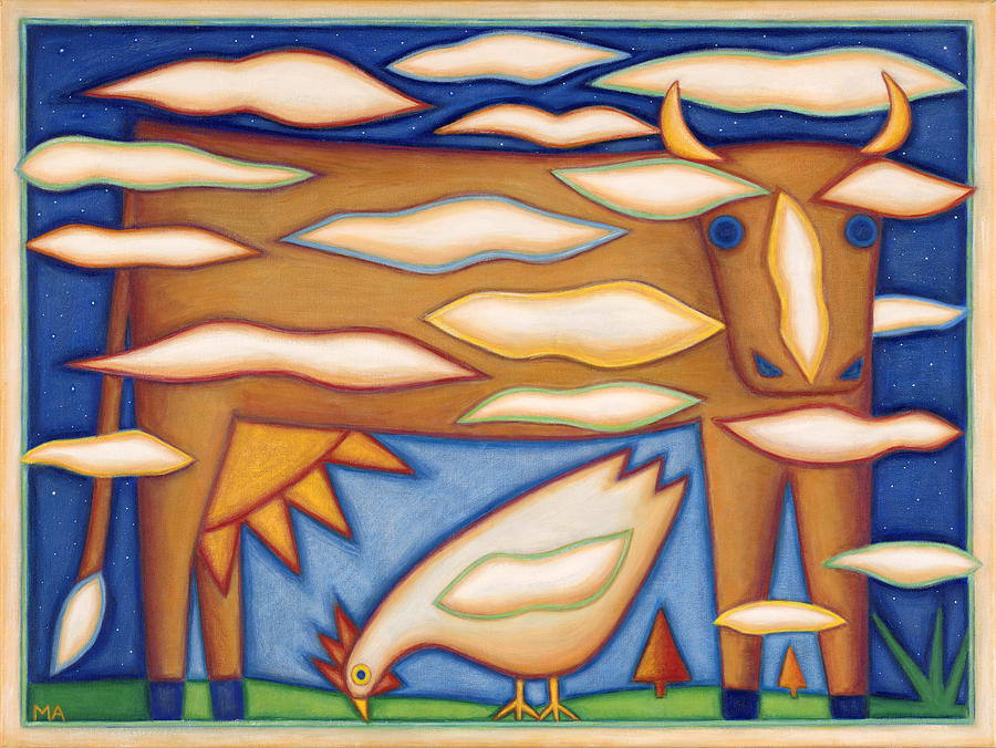 Whimsical Painting - Sky Cow by Mary Anne Nagy