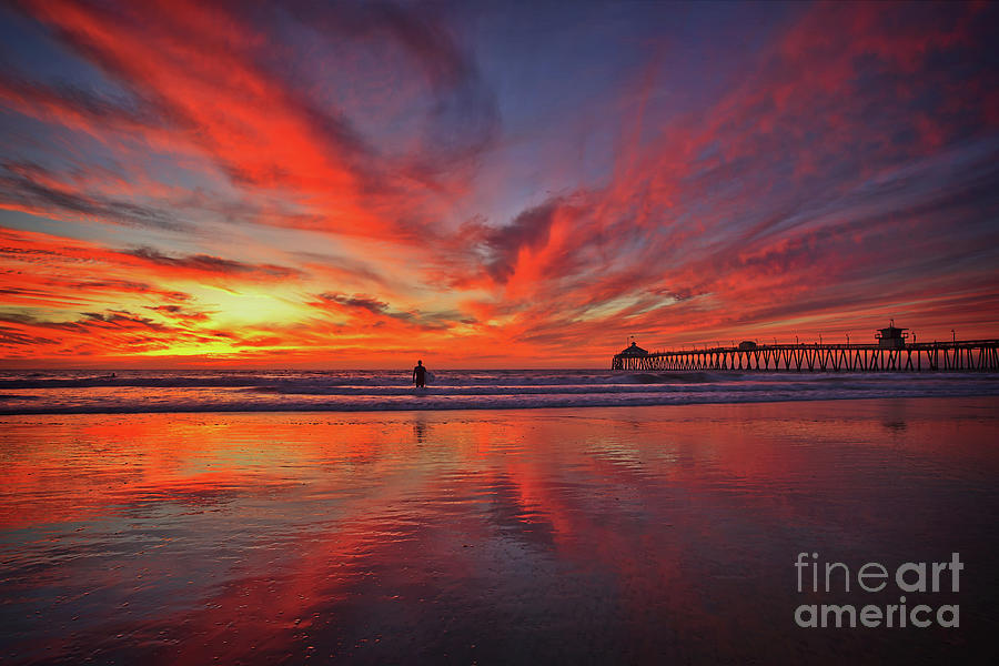 Sky on fire at the Imperial Beach Pier by Sam Antonio Photography