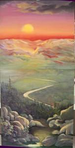 Sky Over Sawtooth Mountain Painting by Irene Corey