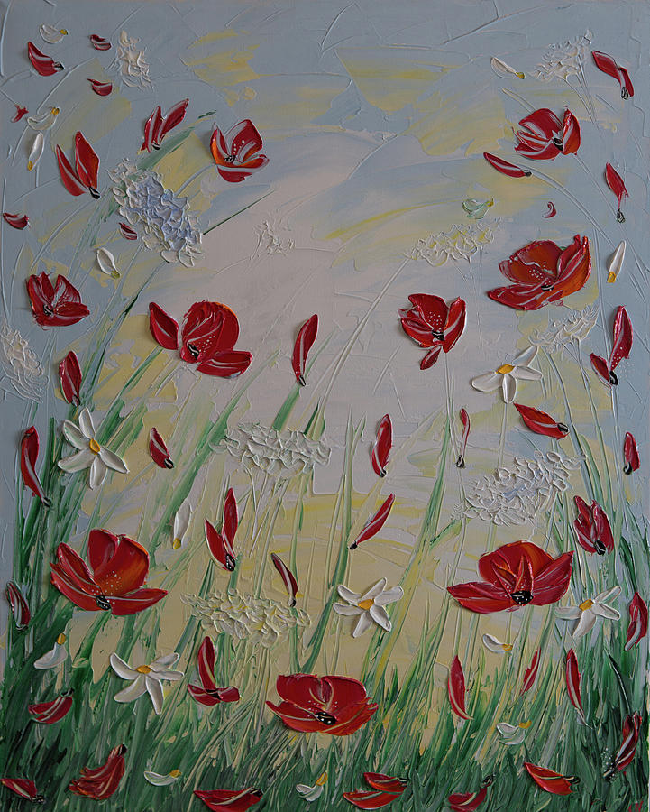 Modern Painting - Sky Poppies Daisies by Elena Nesterenko