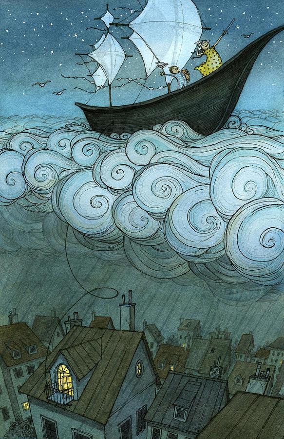 Sky Sailing Drawing by Eliza Wheeler
