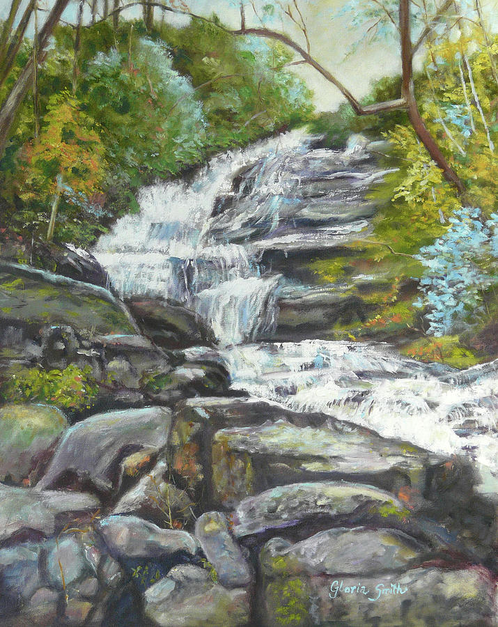 Waterfall Painting - Sky Valley Waterfall by Gloria Smith