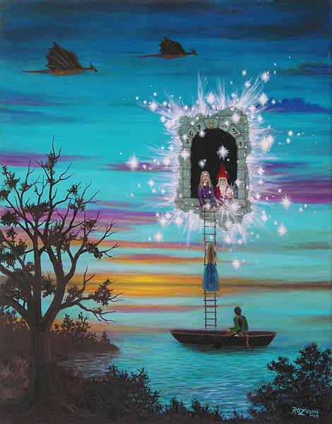 Fantasy Painting - Sky Window by Roz Eve