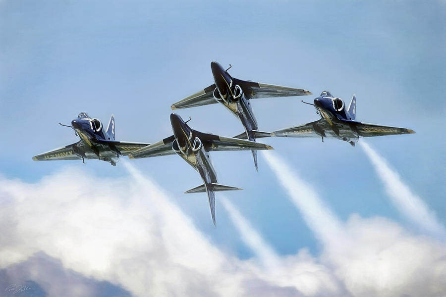 Aviation Digital Art - Skyhawk Double Farvel by Peter Chilelli