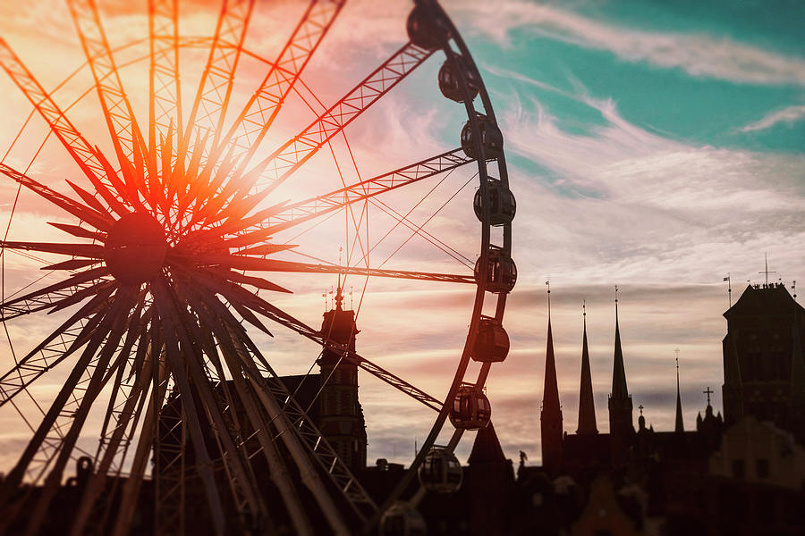 Skyline and Ferris Wheel Gdansk Poland  by Carol Japp