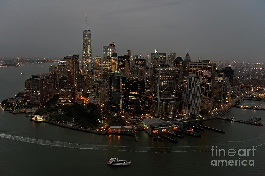 Skyline Of New York City Manhattan Night Aerial Photograph By David Oppenheimer