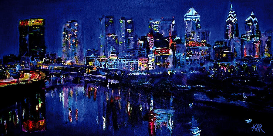 Cityscape Painting - Skyline of Philadelphia by Art by Kar