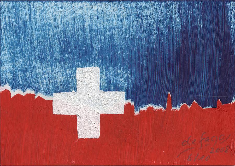 Skyline Painting - Skyline St. Moritz 1. August 2008 by De Fago