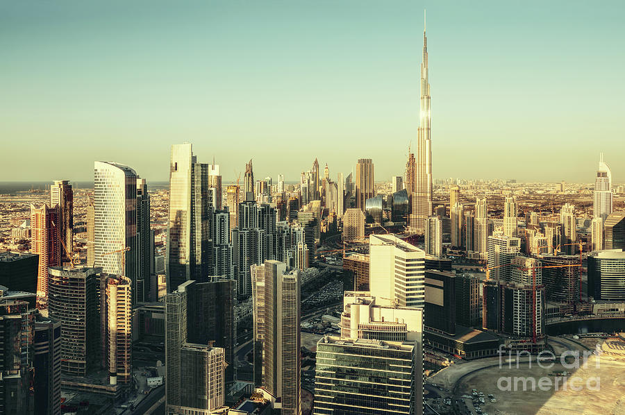 Dubai Photograph - Skyscrapers Of Dubai At Sunset by Dmitrii Telegin