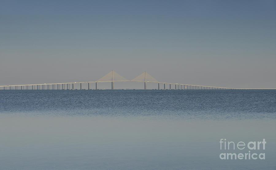 Blue Photograph - Skyway Bridge In Blue by David Lee Thompson