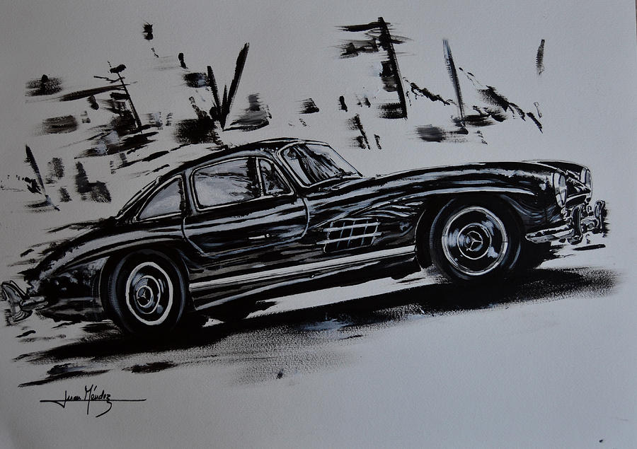 Mercedes Painting - Sl Move by Juan Mendez
