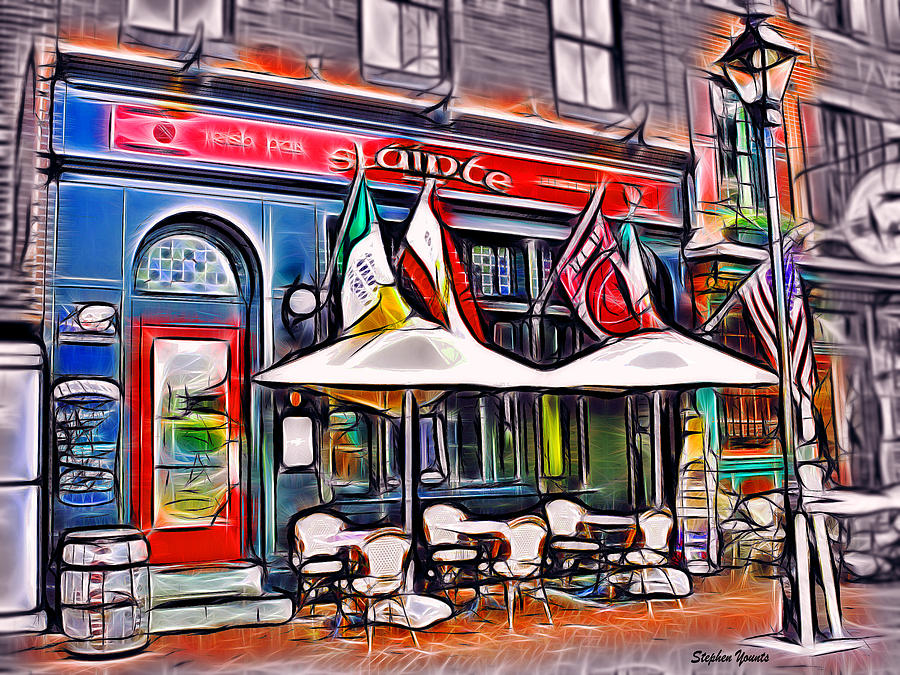 Irish Pub Mixed Media - Slainte Irish Pub And Restaurant by Stephen Younts