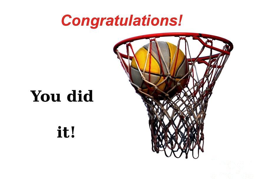 Basketball Photograph - Slam Dunk Congratulations Greeting Card by Yali Shi