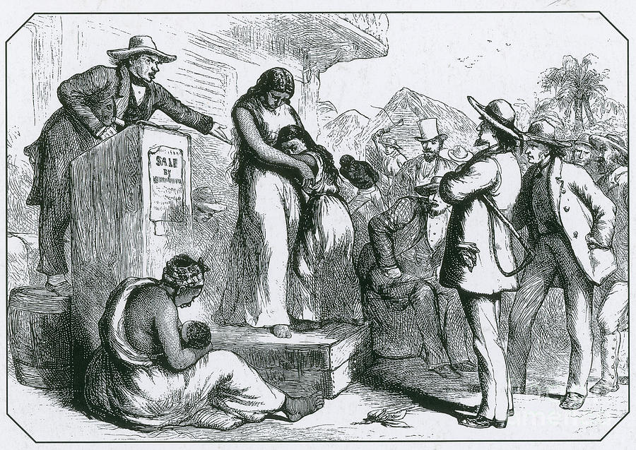 History Photograph - Slave Auction by Photo Researchers