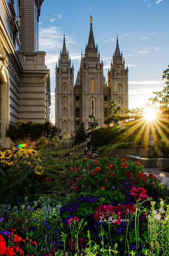 Salt Lake Temple Photograph - Slc Temple Sunburst by La Rae  Roberts