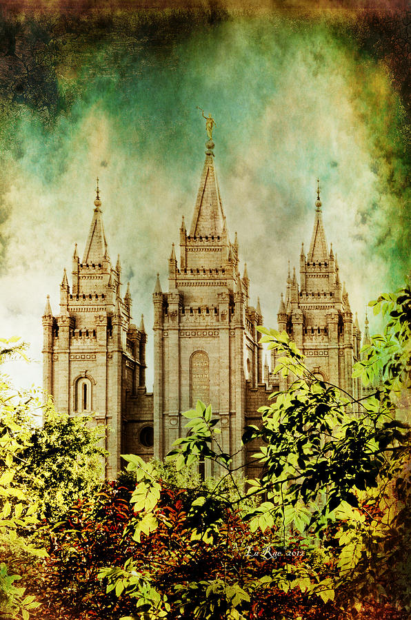 Salt Lake Temple Photography Photograph - Slc Vintage Green by La Rae  Roberts