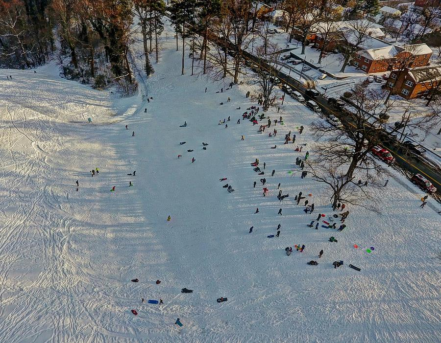 Forest Hill Park Photograph - Sled Riding at Forest Hill Park by Tredegar DroneWorks