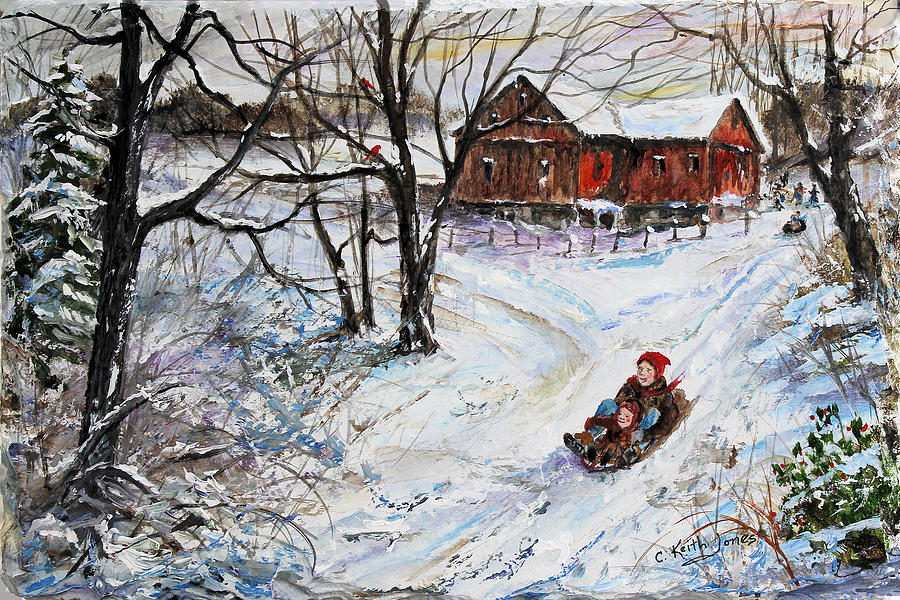 Sled Painting - Sled Riding Fun by C Keith Jones