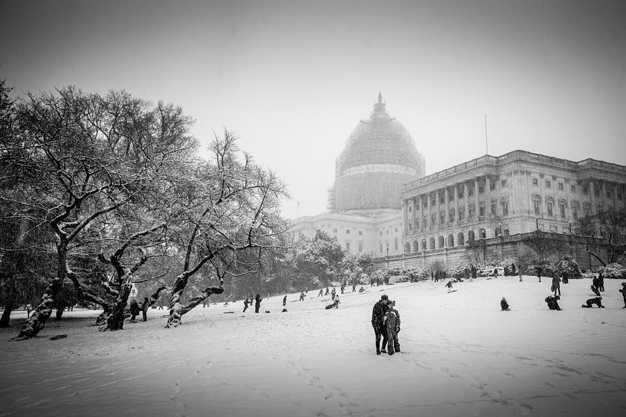 Washington Photograph - Sledding on Capitol Hill by Robert Davis