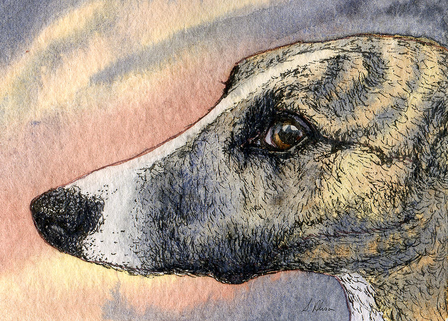 Whippet Painting - Sleek by Susan Alison