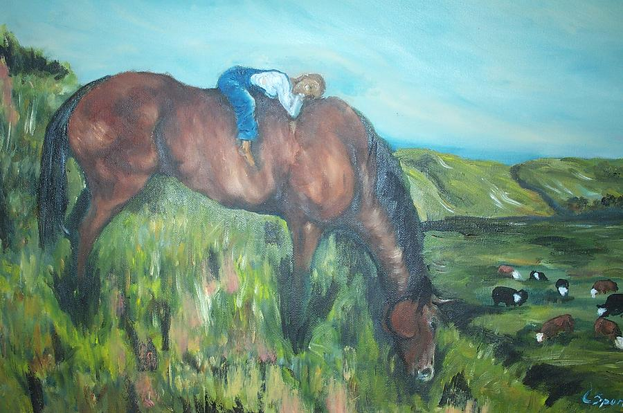 Horse Painting - Sleep On The Job by Leslie Spurlock