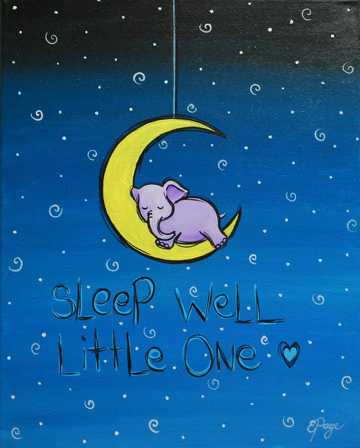Baby Elephant Painting - Sleep Well - Purple Elephant by Emily Page