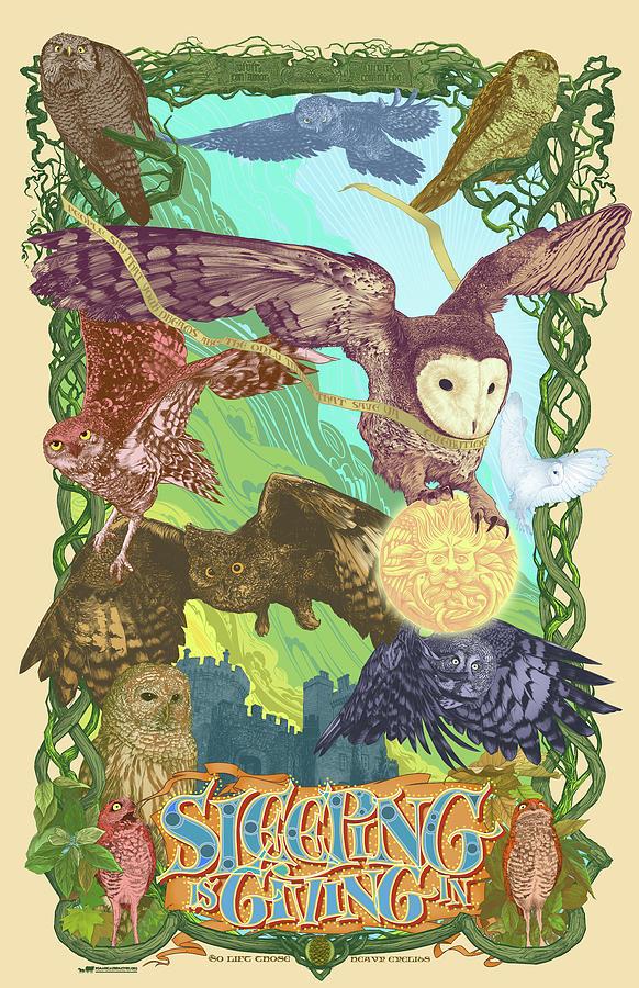 Owls Digital Art - Sleepin Is Giving In by Nelson Dedos Garcia