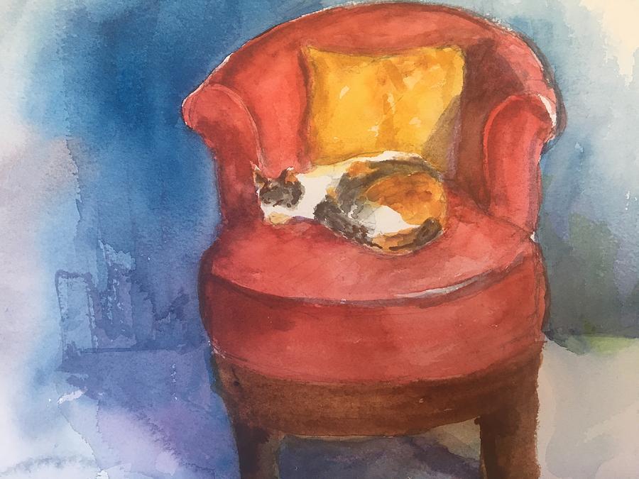 Watercolor Mixed Media - Sleeping Calico by Iva Fendrick