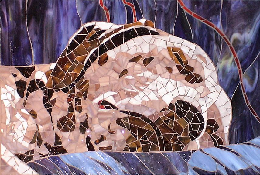 Dog Glass Art - Sleeping by Christine Brallier