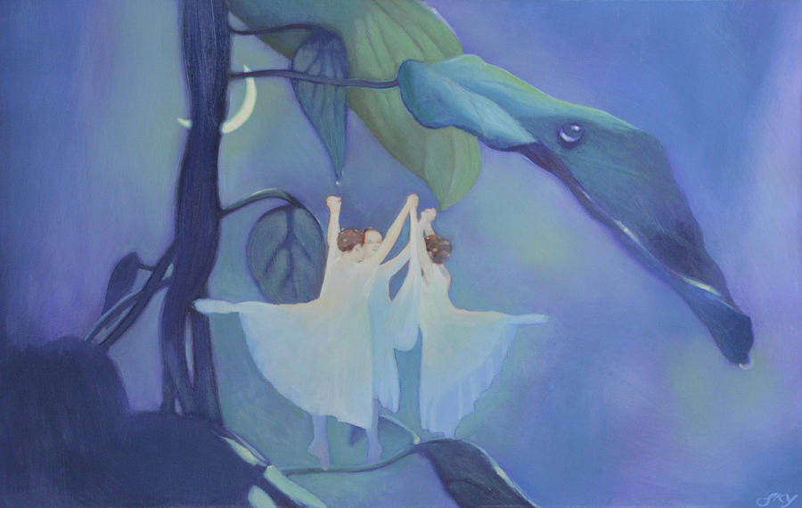 Landscape Painting - Sleeping Fairies by Blue Sky