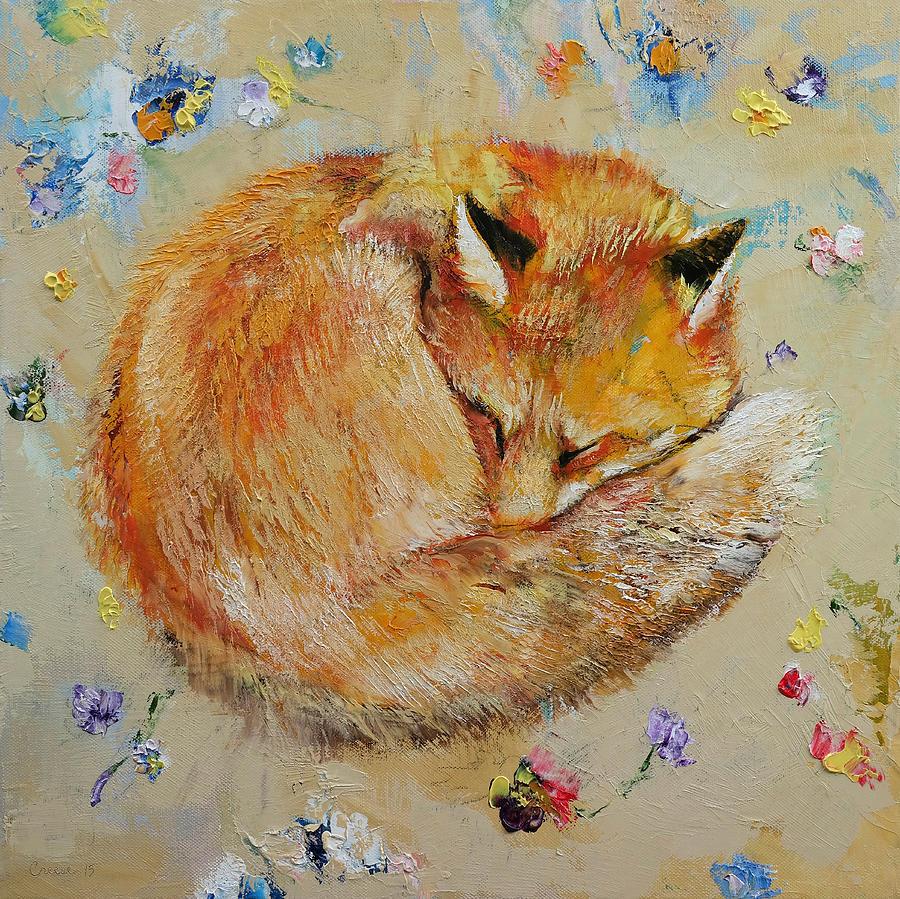 Fox Painting - Sleeping Fox by Michael Creese
