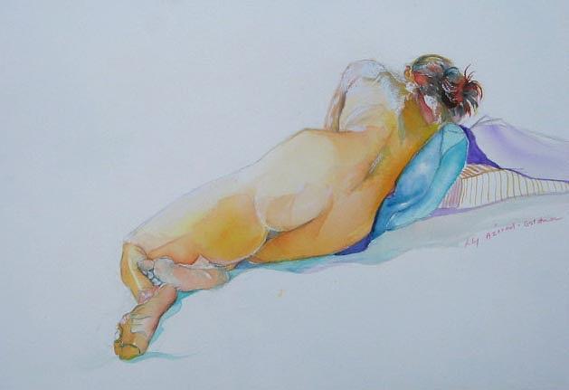 Nude Painting - sleeping II by Lily  Azerad-Goldman