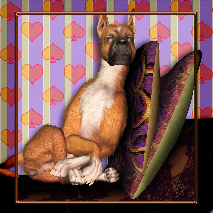 Dog Digital Art - Sleeping II by Nik Helbig